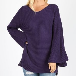 LILY Loose Fit Sweater - DK PURPLE